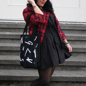 Nasty Gal Black and White Shopping Tote